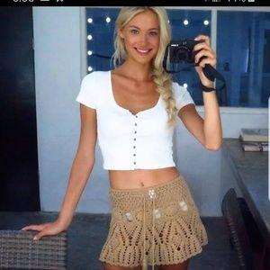 Other - NEW Crochet Floral Swimwear  BOHO Mini Skirt